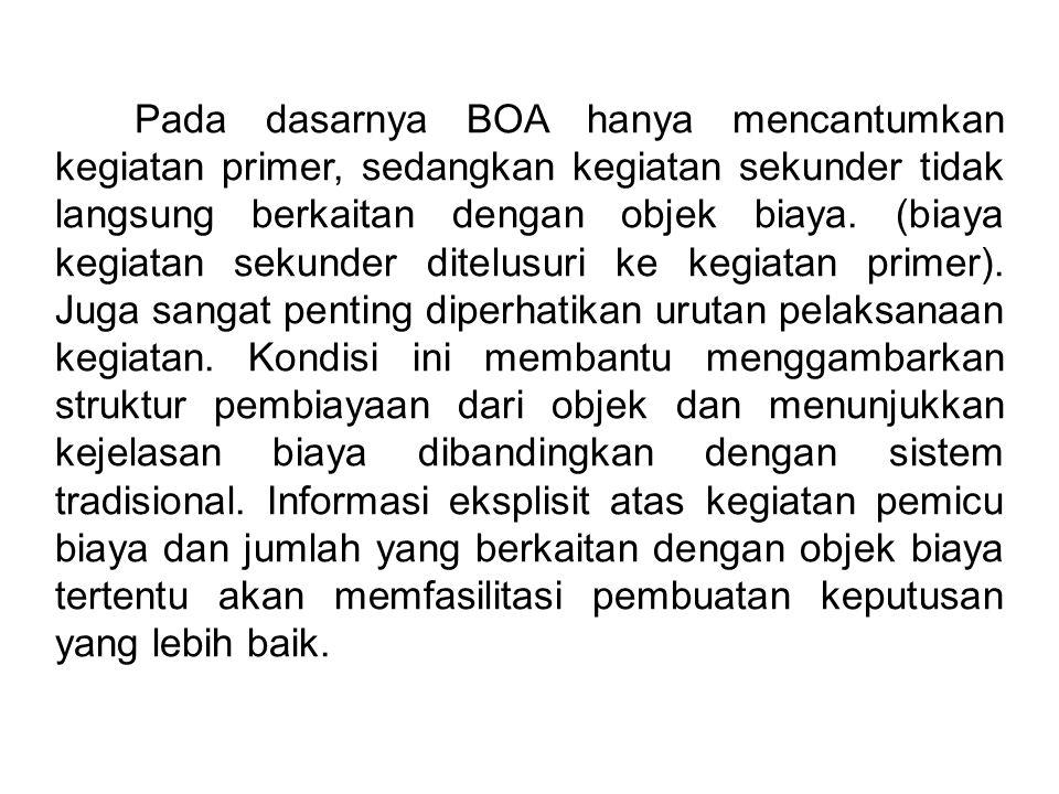 Pada dasarnya BOA hanya mencantumkan kegiatan primer, sedangkan kegiatan sekunder tidak langsung berkaitan dengan objek biaya.