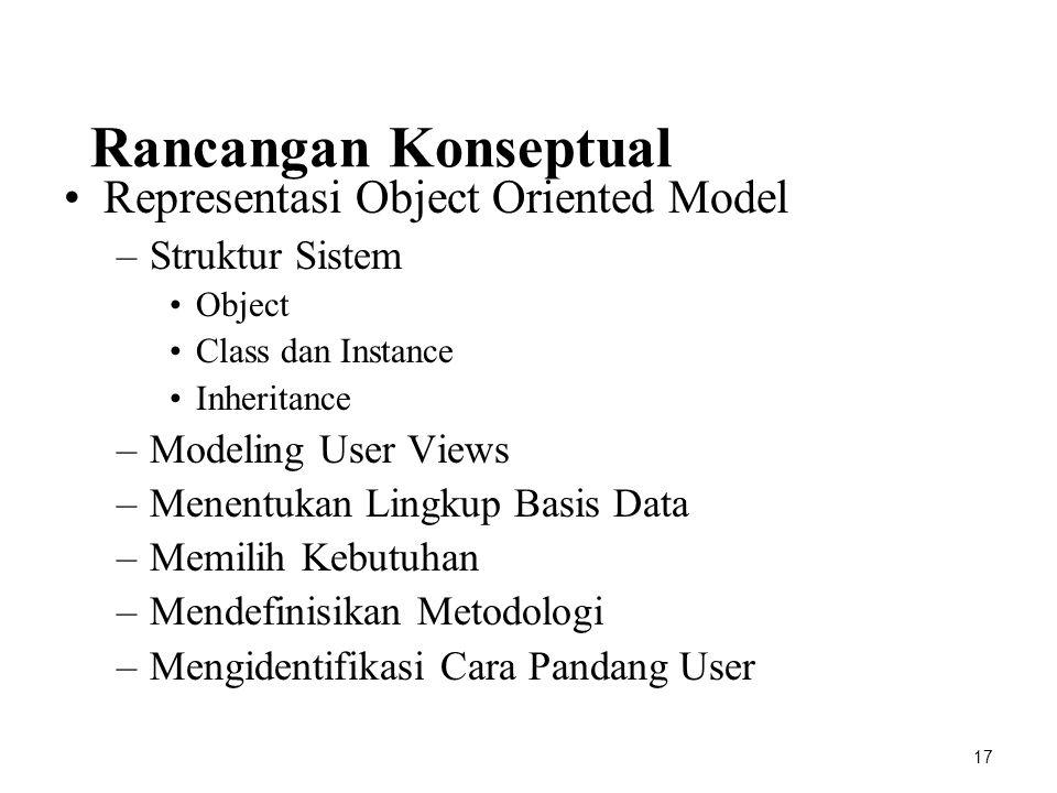 Rancangan Konseptual Representasi Object Oriented Model