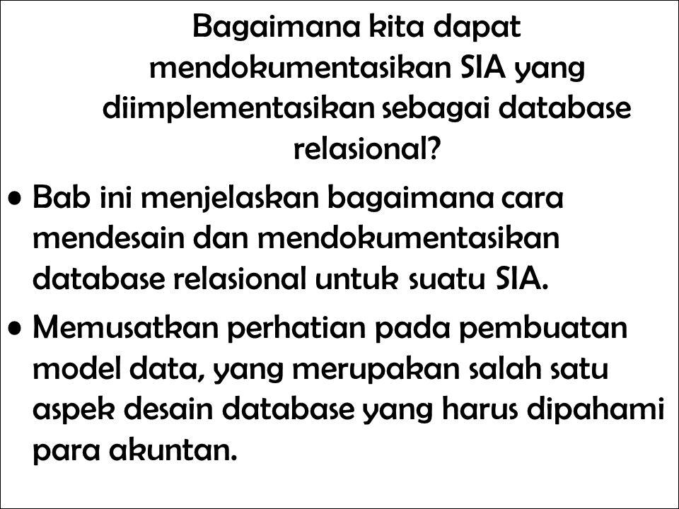 Bagaimana kita dapat mendokumentasikan SIA yang diimplementasikan sebagai database relasional
