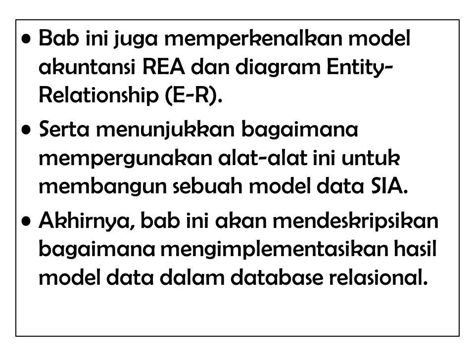 Bab ini juga memperkenalkan model akuntansi REA dan diagram Entity-Relationship (E-R).