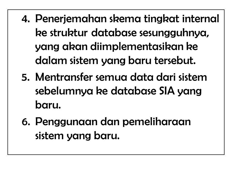 Penerjemahan skema tingkat internal ke struktur database sesungguhnya, yang akan diimplementasikan ke dalam sistem yang baru tersebut.