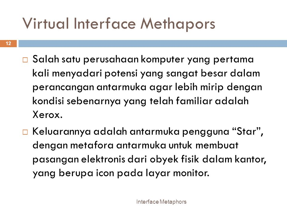 Virtual Interface Methapors