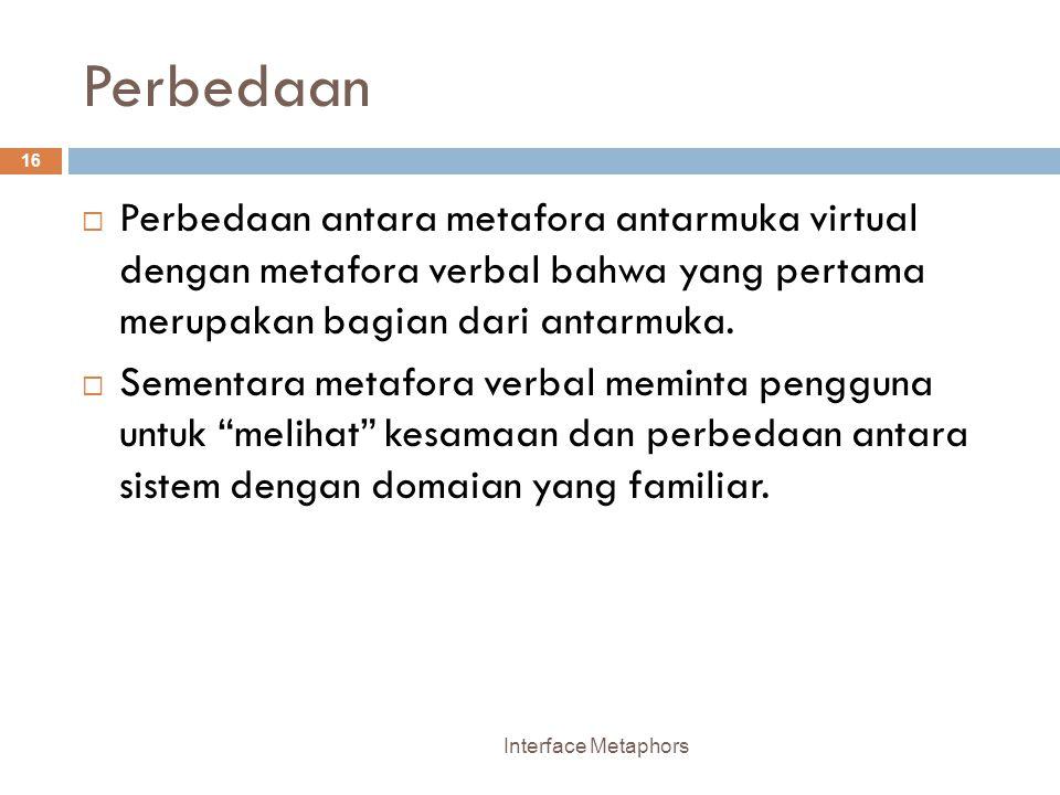 Perbedaan Perbedaan antara metafora antarmuka virtual dengan metafora verbal bahwa yang pertama merupakan bagian dari antarmuka.