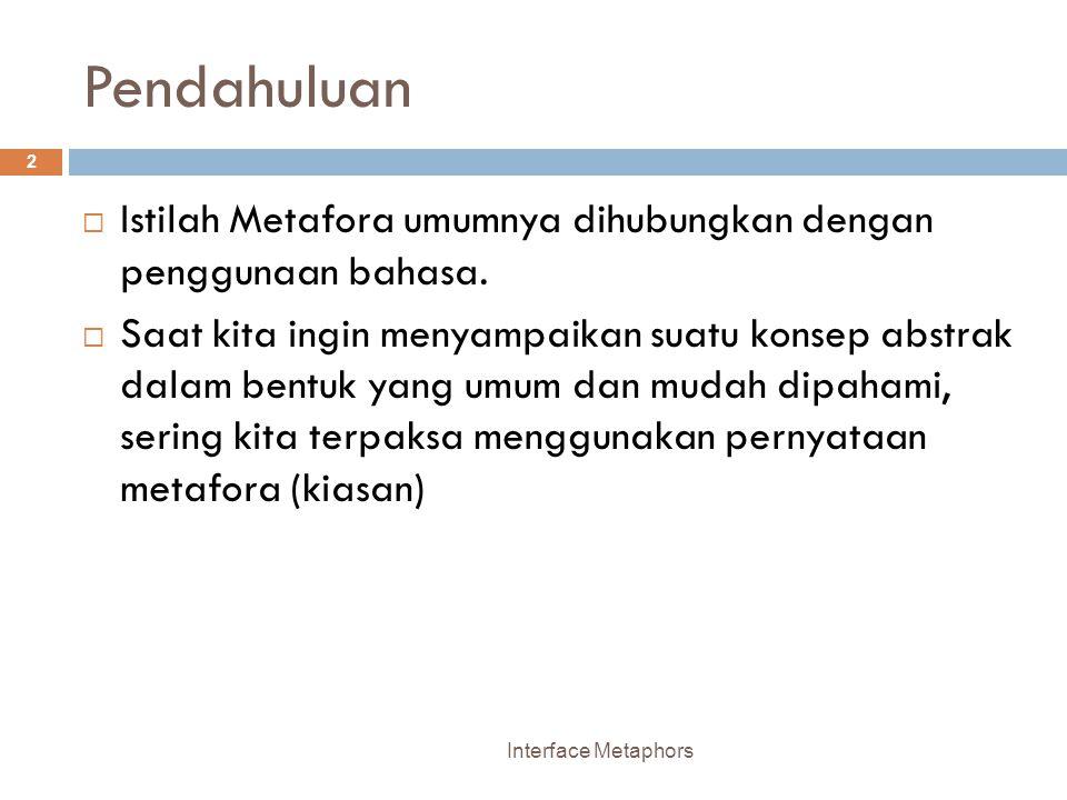 Pendahuluan Istilah Metafora umumnya dihubungkan dengan penggunaan bahasa.