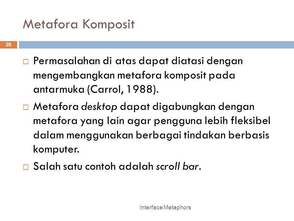 Metafora Komposit Permasalahan di atas dapat diatasi dengan mengembangkan metafora komposit pada antarmuka (Carrol, 1988).