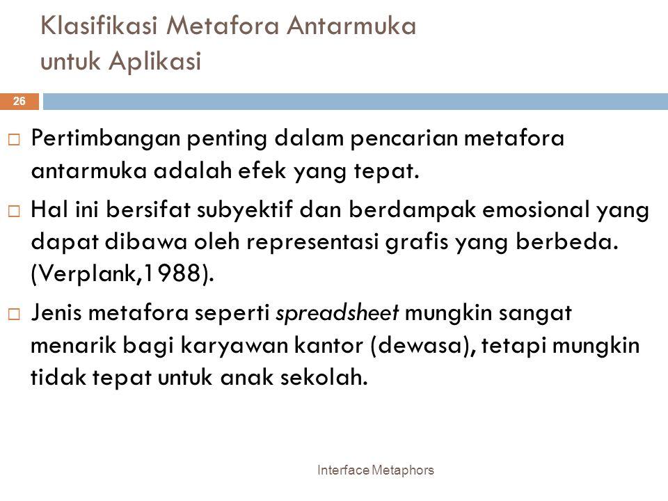 Klasifikasi Metafora Antarmuka untuk Aplikasi