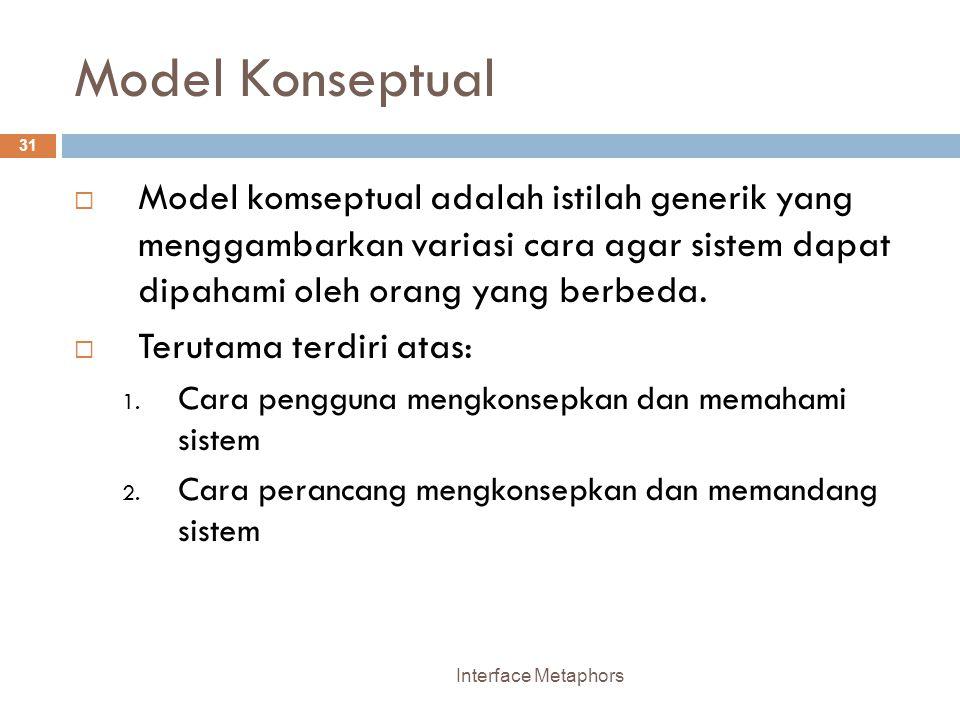 Model Konseptual Model komseptual adalah istilah generik yang menggambarkan variasi cara agar sistem dapat dipahami oleh orang yang berbeda.