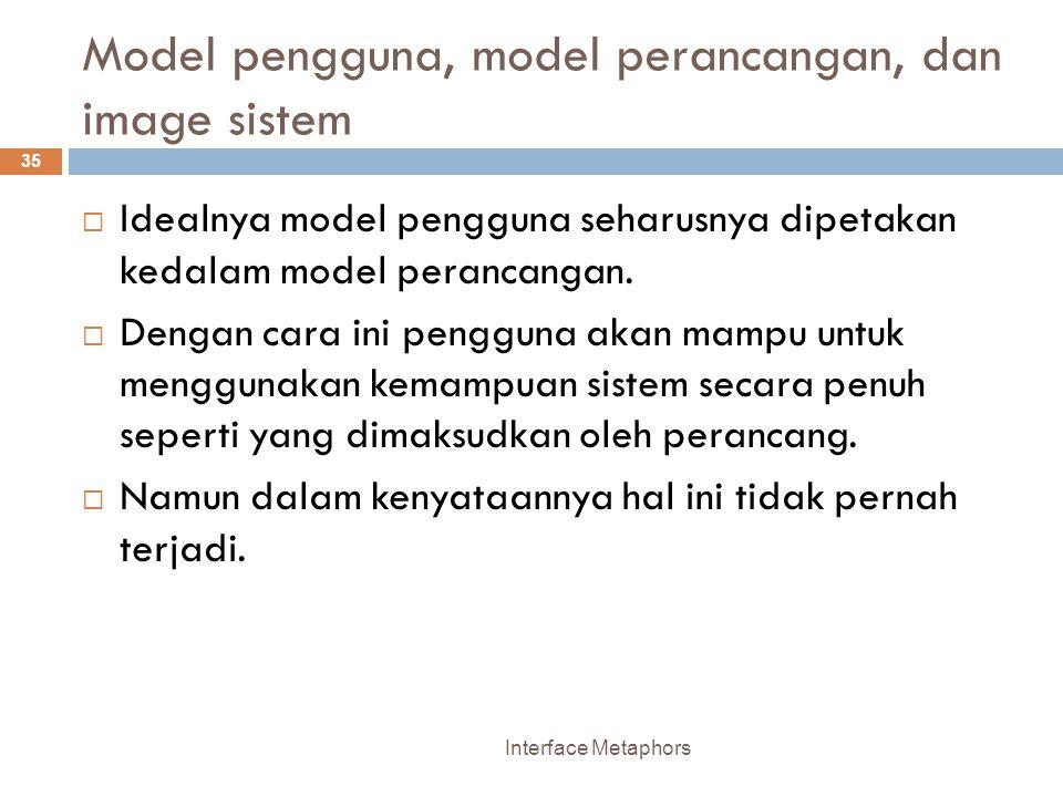 Model pengguna, model perancangan, dan image sistem