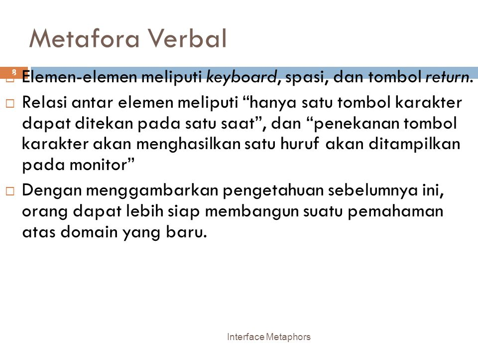 Metafora Verbal Elemen-elemen meliputi keyboard, spasi, dan tombol return.