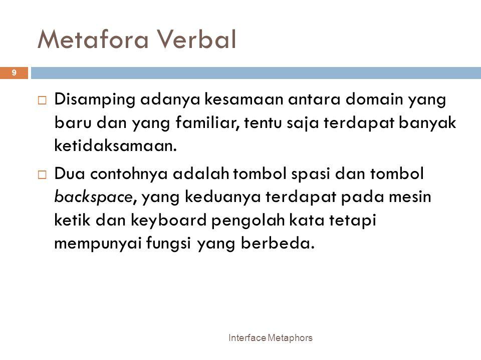 Metafora Verbal Disamping adanya kesamaan antara domain yang baru dan yang familiar, tentu saja terdapat banyak ketidaksamaan.
