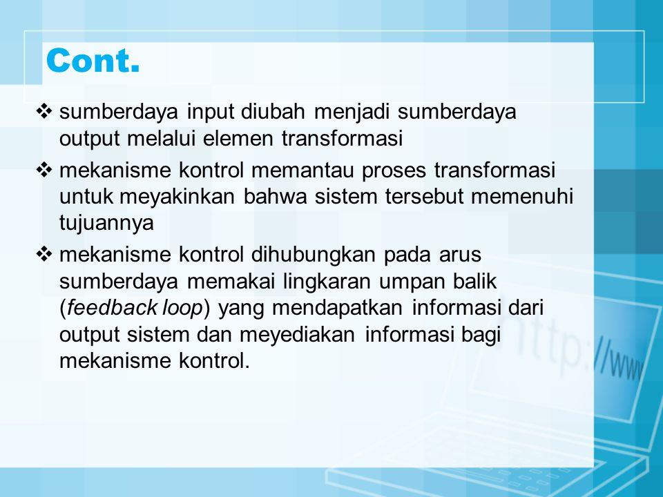 Cont. sumberdaya input diubah menjadi sumberdaya output melalui elemen transformasi.