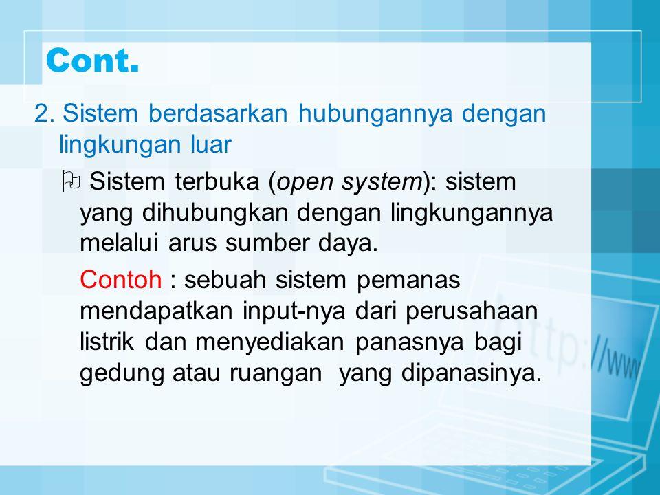 Cont. 2. Sistem berdasarkan hubungannya dengan lingkungan luar