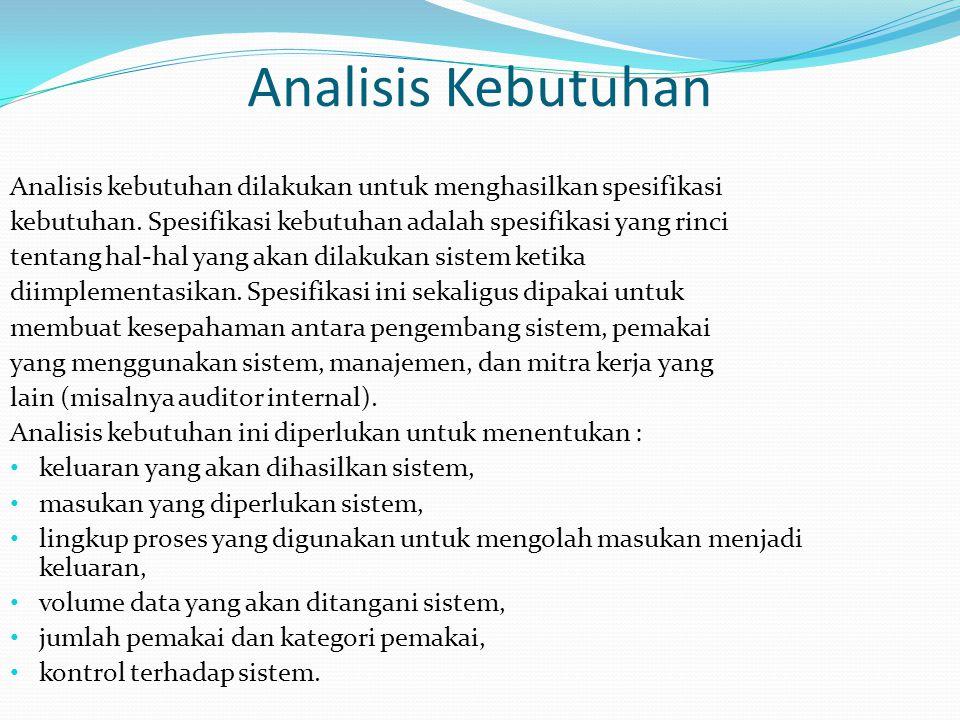Analisis Kebutuhan Analisis kebutuhan dilakukan untuk menghasilkan spesifikasi. kebutuhan. Spesifikasi kebutuhan adalah spesifikasi yang rinci.