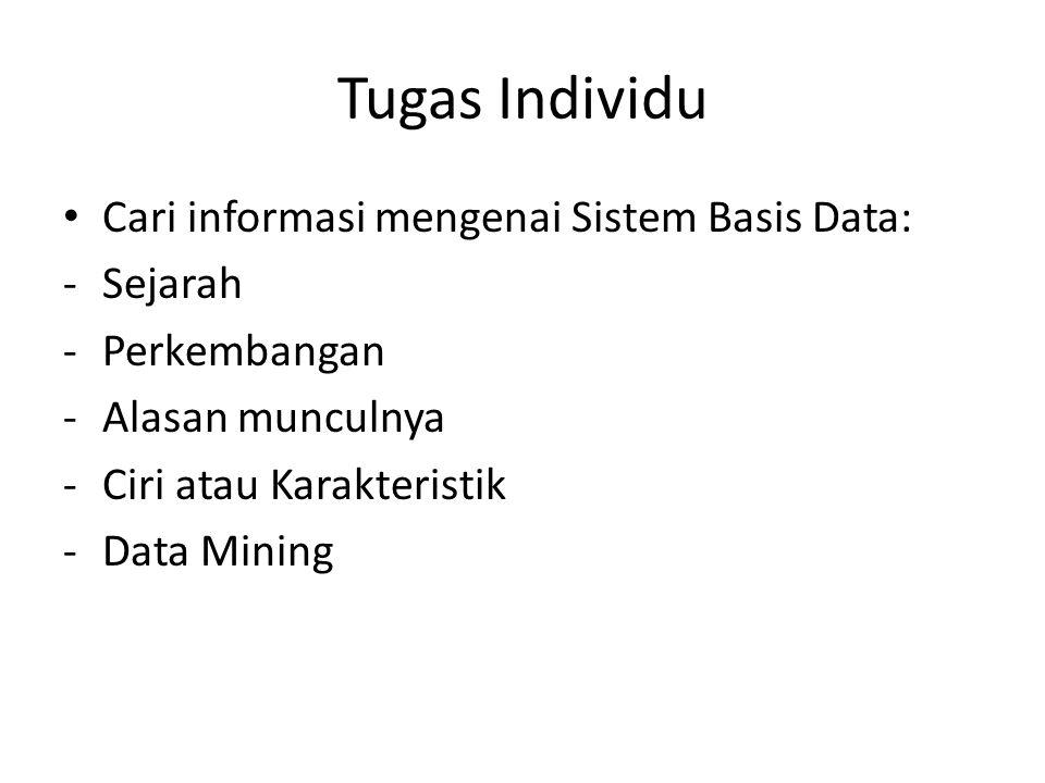 Tugas Individu Cari informasi mengenai Sistem Basis Data: Sejarah