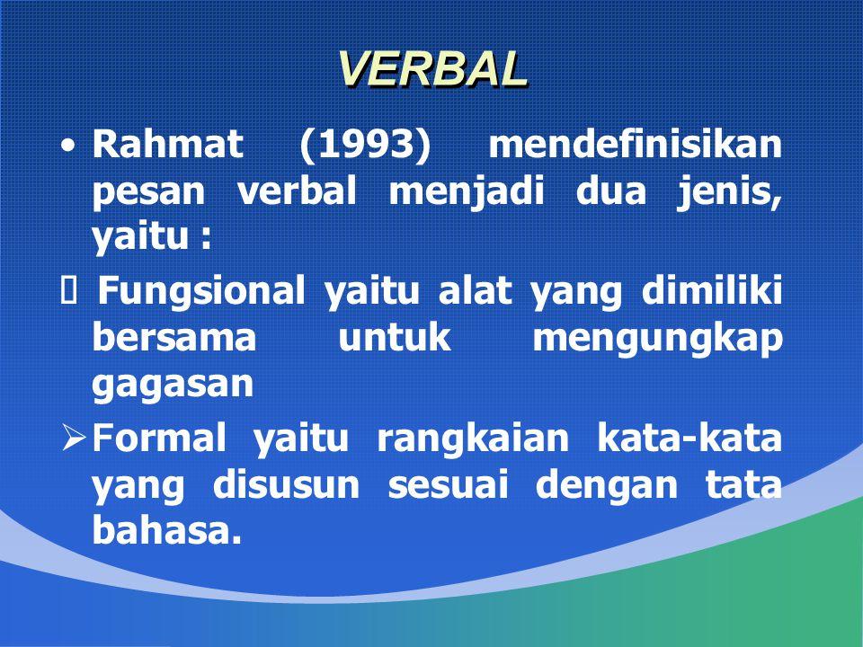 VERBAL Rahmat (1993) mendefinisikan pesan verbal menjadi dua jenis, yaitu : Ø Fungsional yaitu alat yang dimiliki bersama untuk mengungkap gagasan.
