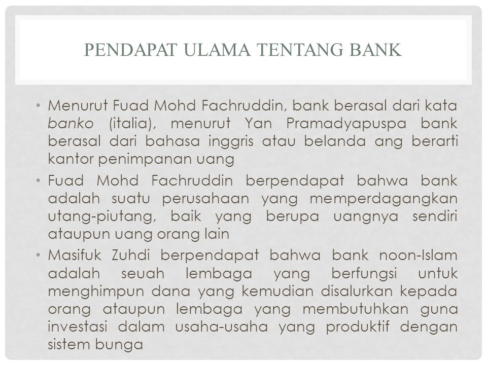 Pendapat ulama tentang bank
