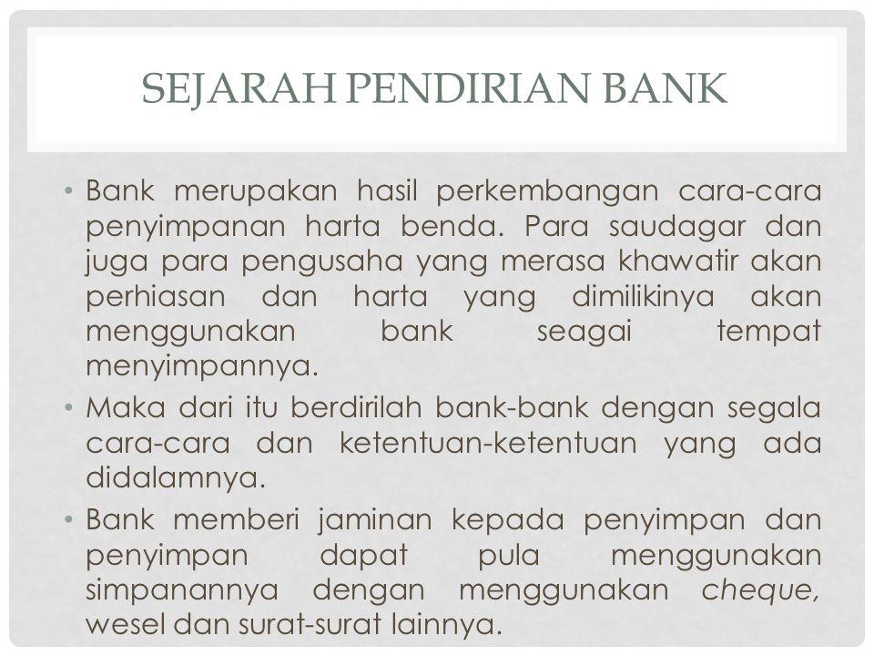 Sejarah pendirian bank