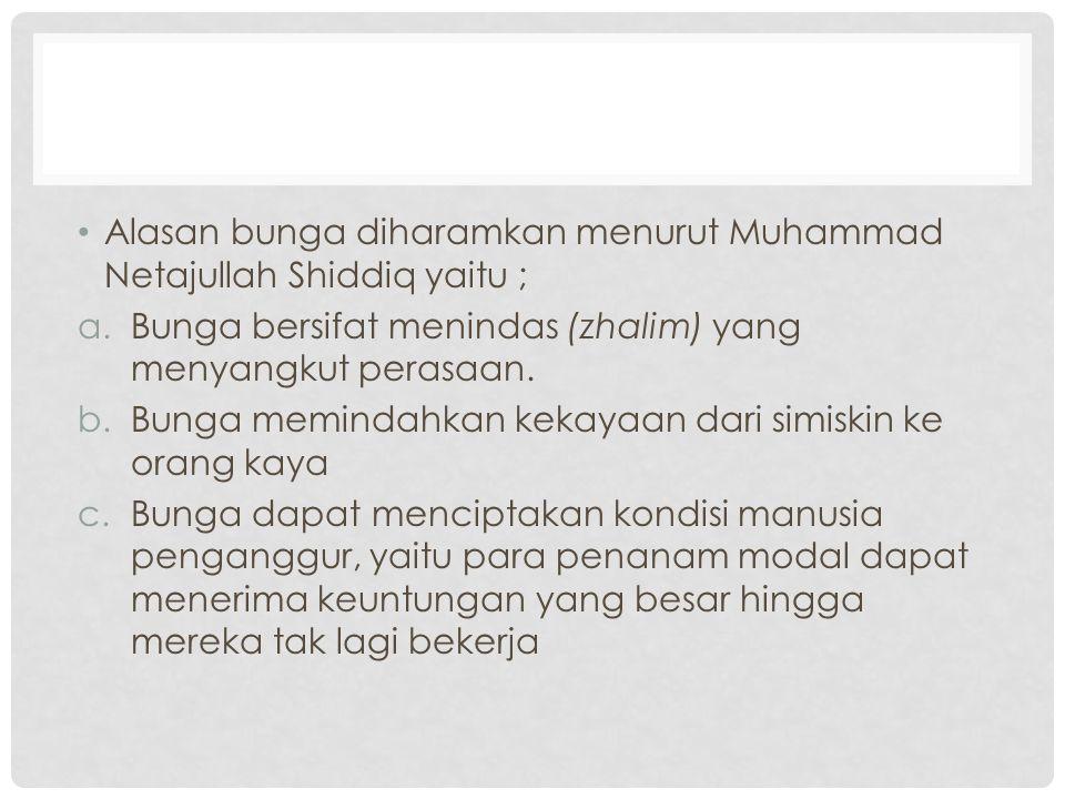 Alasan bunga diharamkan menurut Muhammad Netajullah Shiddiq yaitu ;
