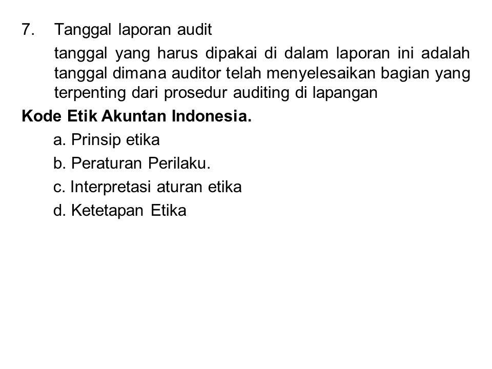 Tanggal laporan audit
