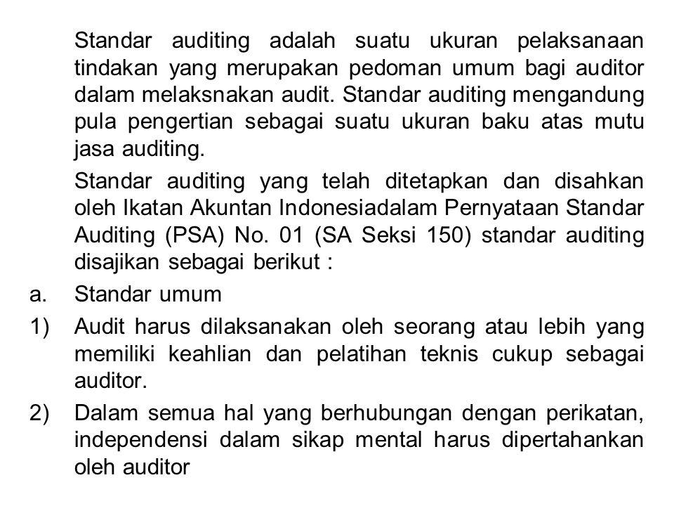 Standar auditing adalah suatu ukuran pelaksanaan tindakan yang merupakan pedoman umum bagi auditor dalam melaksnakan audit. Standar auditing mengandung pula pengertian sebagai suatu ukuran baku atas mutu jasa auditing.