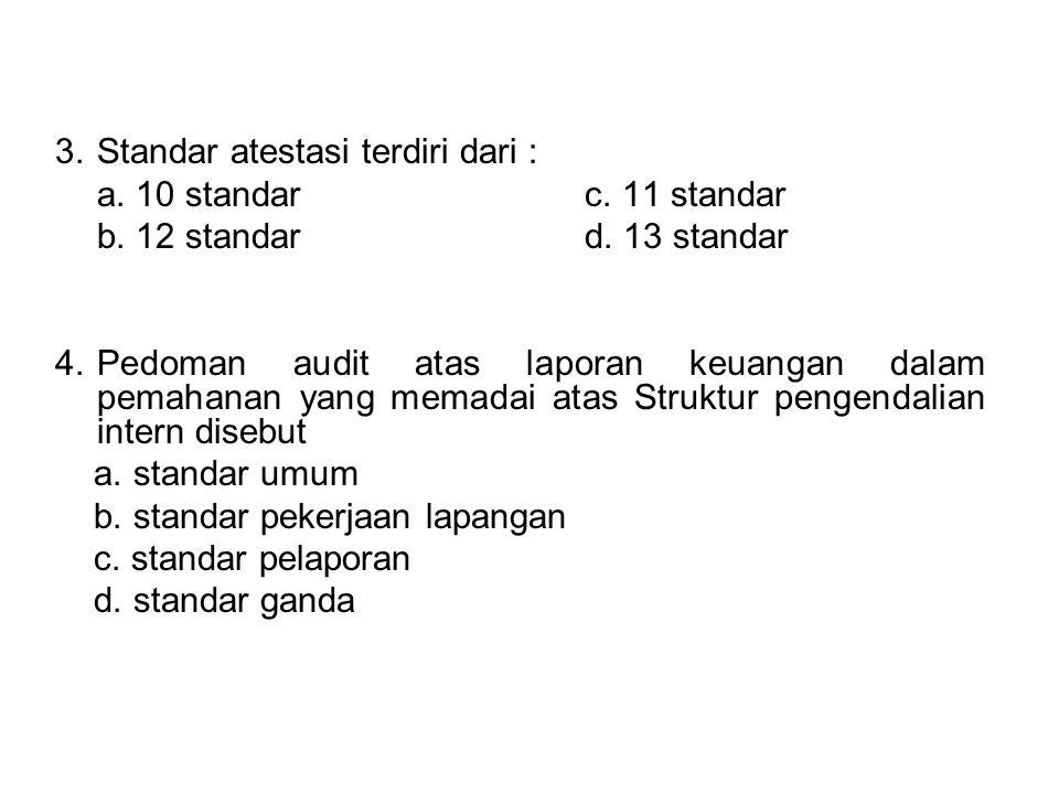 3. Standar atestasi terdiri dari :