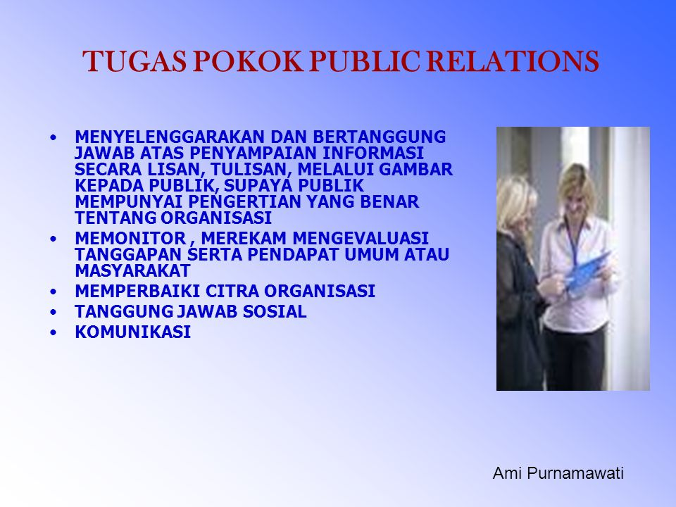 TUGAS POKOK PUBLIC RELATIONS
