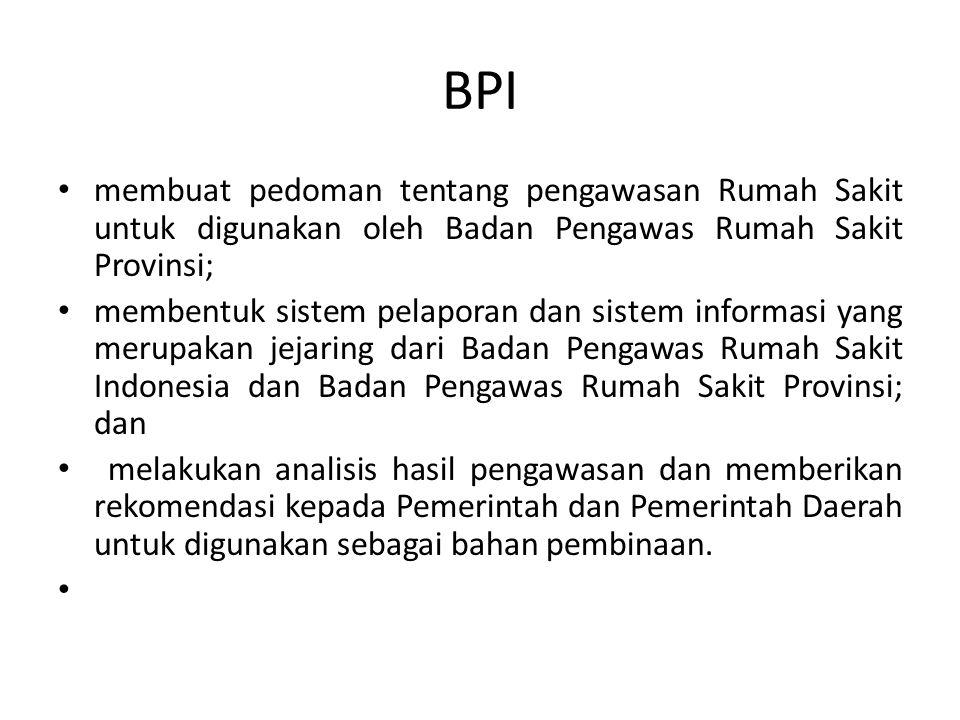 BPI membuat pedoman tentang pengawasan Rumah Sakit untuk digunakan oleh Badan Pengawas Rumah Sakit Provinsi;