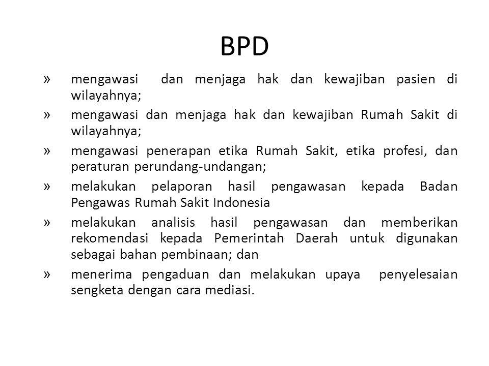 BPD mengawasi dan menjaga hak dan kewajiban pasien di wilayahnya;