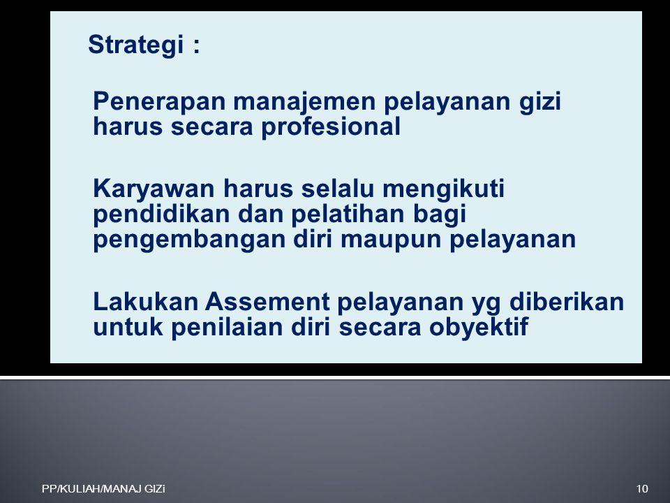 Penerapan manajemen pelayanan gizi harus secara profesional