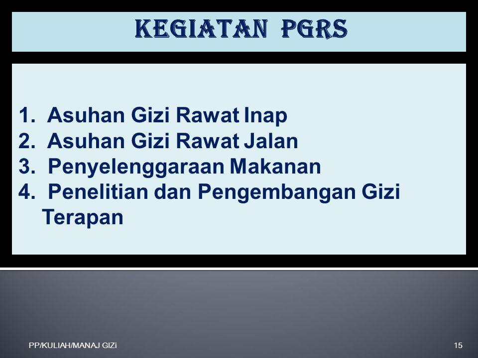 Kegiatan PGRS 1. Asuhan Gizi Rawat Inap 2. Asuhan Gizi Rawat Jalan