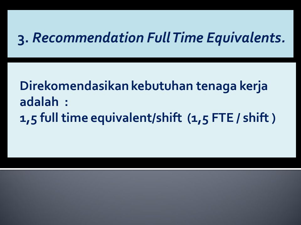 3. Recommendation Full Time Equivalents.