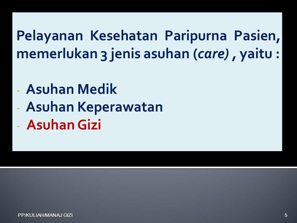 Pelayanan Kesehatan Paripurna Pasien, memerlukan 3 jenis asuhan (care) , yaitu :