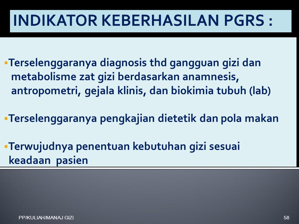 INDIKATOR KEBERHASILAN PGRS :