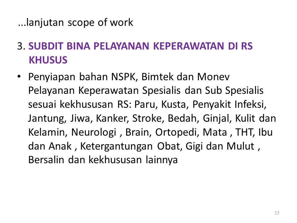 ...lanjutan scope of work 3. SUBDIT BINA PELAYANAN KEPERAWATAN DI RS KHUSUS.