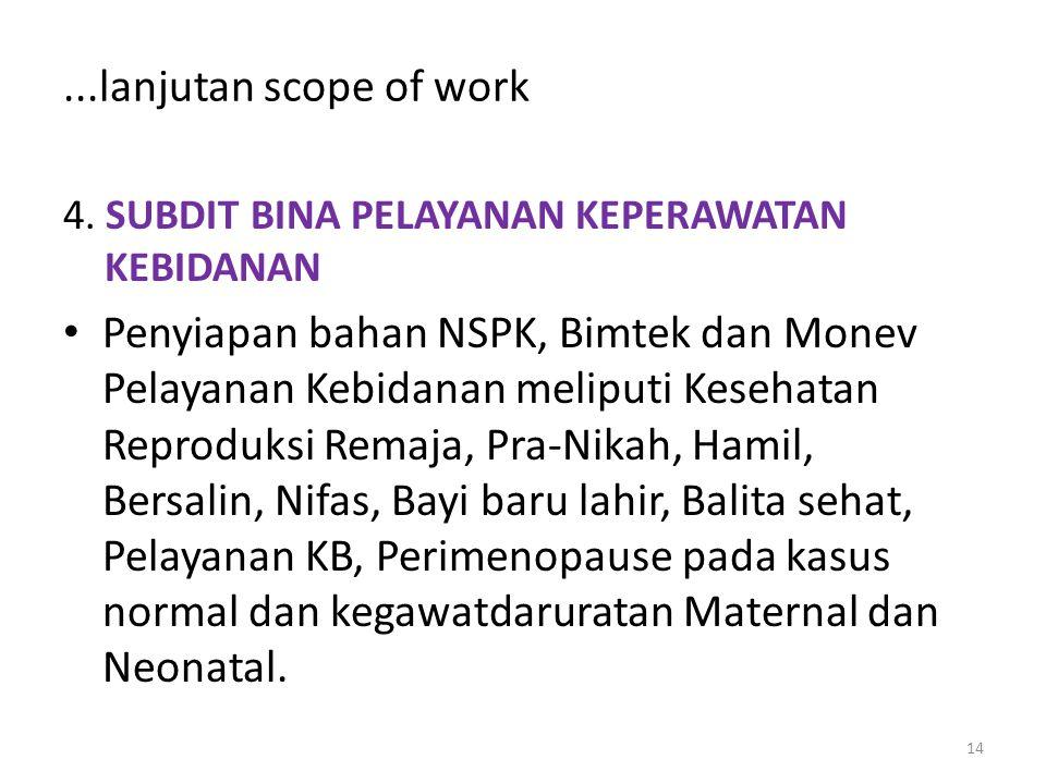 ...lanjutan scope of work 4. SUBDIT BINA PELAYANAN KEPERAWATAN KEBIDANAN.