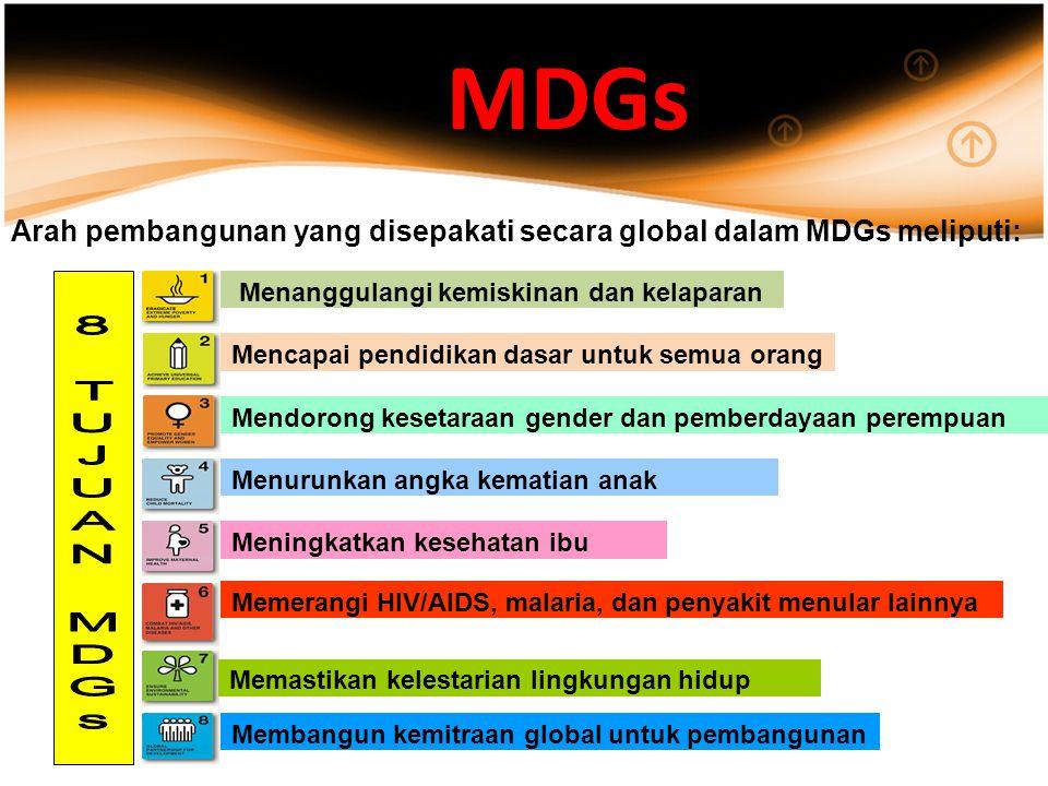 MDGs Arah pembangunan yang disepakati secara global dalam MDGs meliputi: Menanggulangi kemiskinan dan kelaparan.