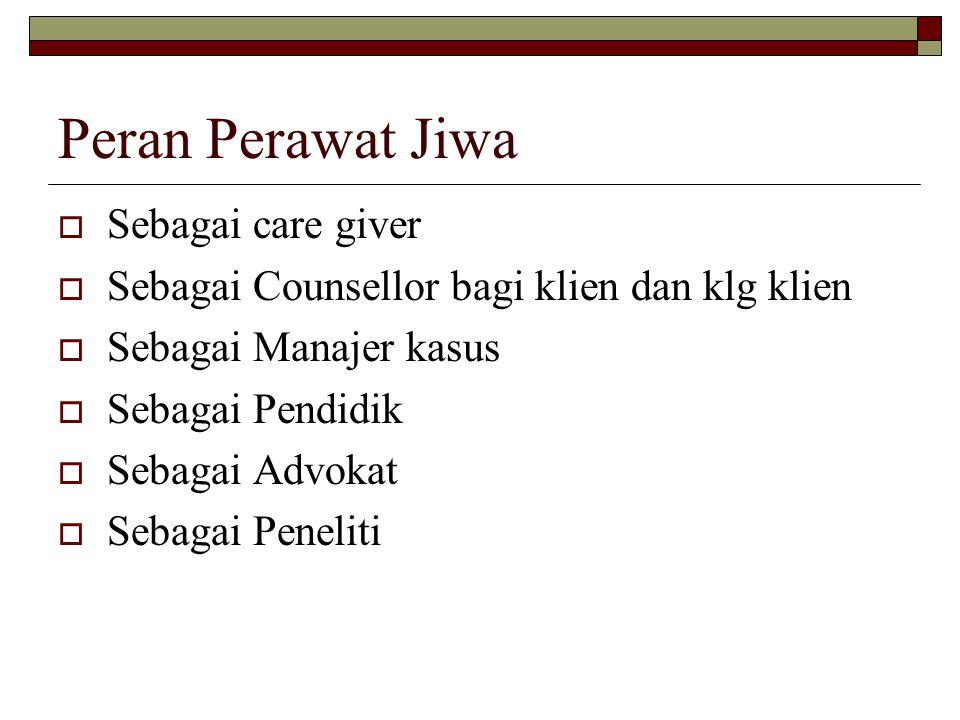 Peran Perawat Jiwa Sebagai care giver