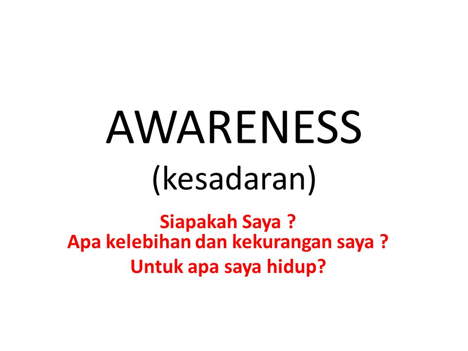 AWARENESS (kesadaran)