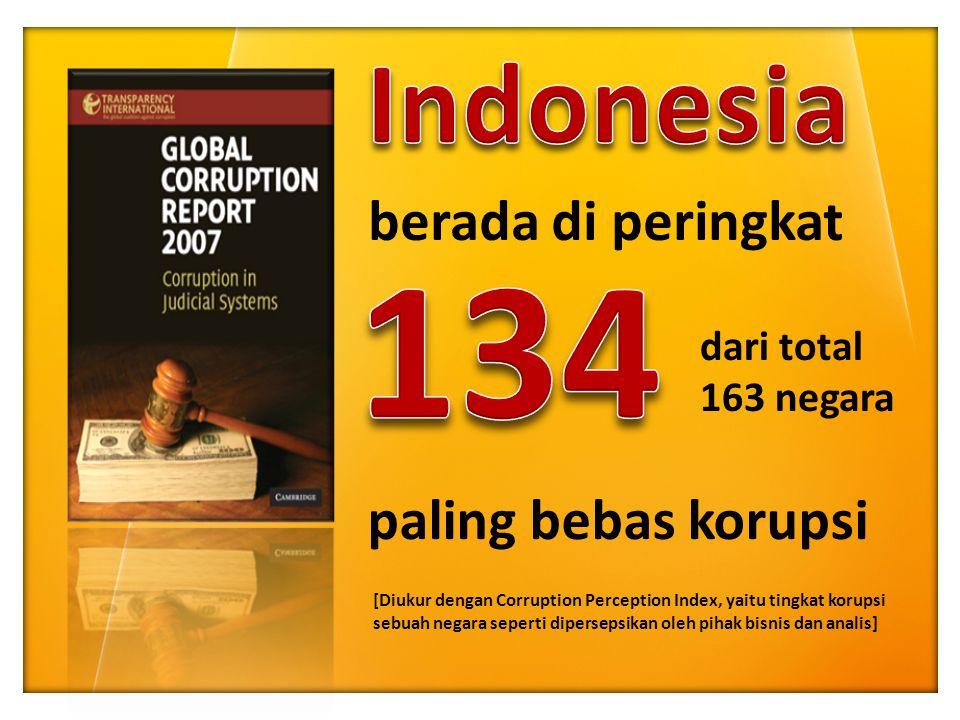 134 Indonesia berada di peringkat paling bebas korupsi dari total