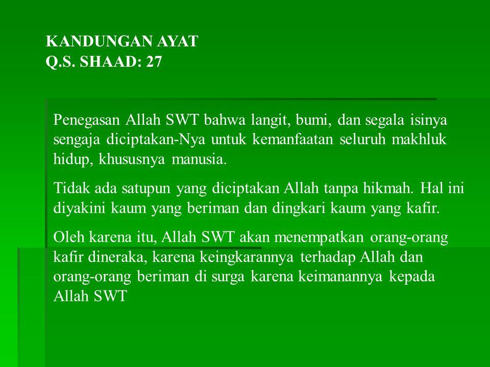 KANDUNGAN AYAT Q.S. SHAAD: 27