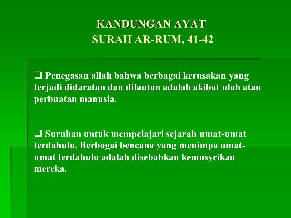 KANDUNGAN AYAT SURAH AR-RUM, 41-42