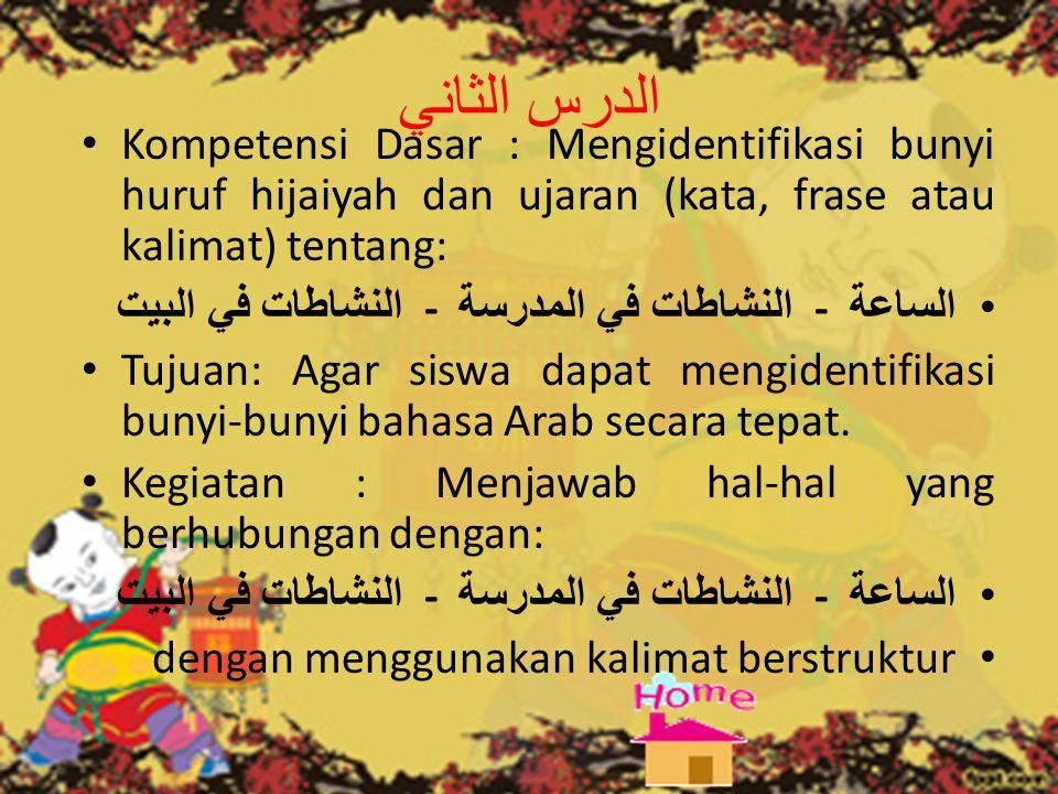 الدرس الثاني Kompetensi Dasar : Mengidentifikasi bunyi huruf hijaiyah dan ujaran (kata, frase atau kalimat) tentang: