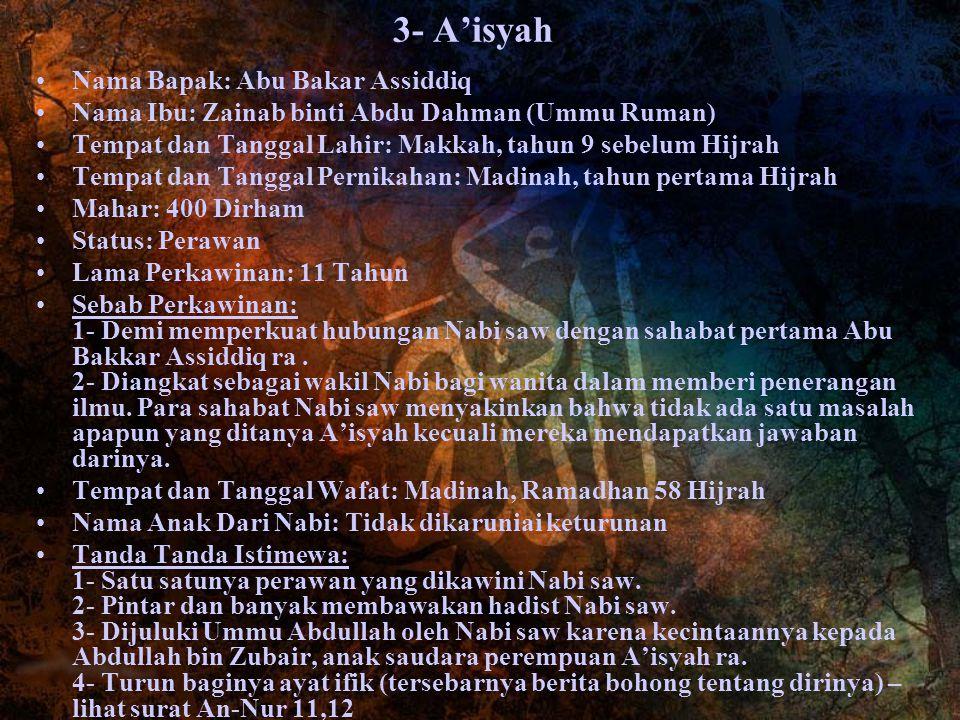 3- A'isyah Nama Bapak: Abu Bakar Assiddiq