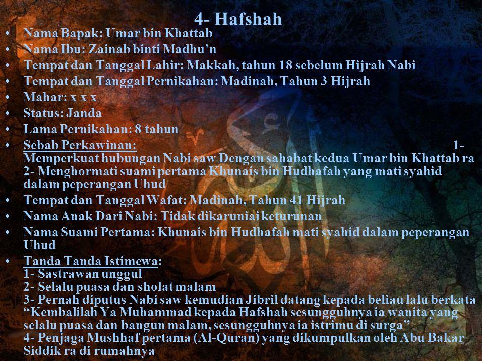 4- Hafshah Nama Bapak: Umar bin Khattab Nama Ibu: Zainab binti Madhu'n