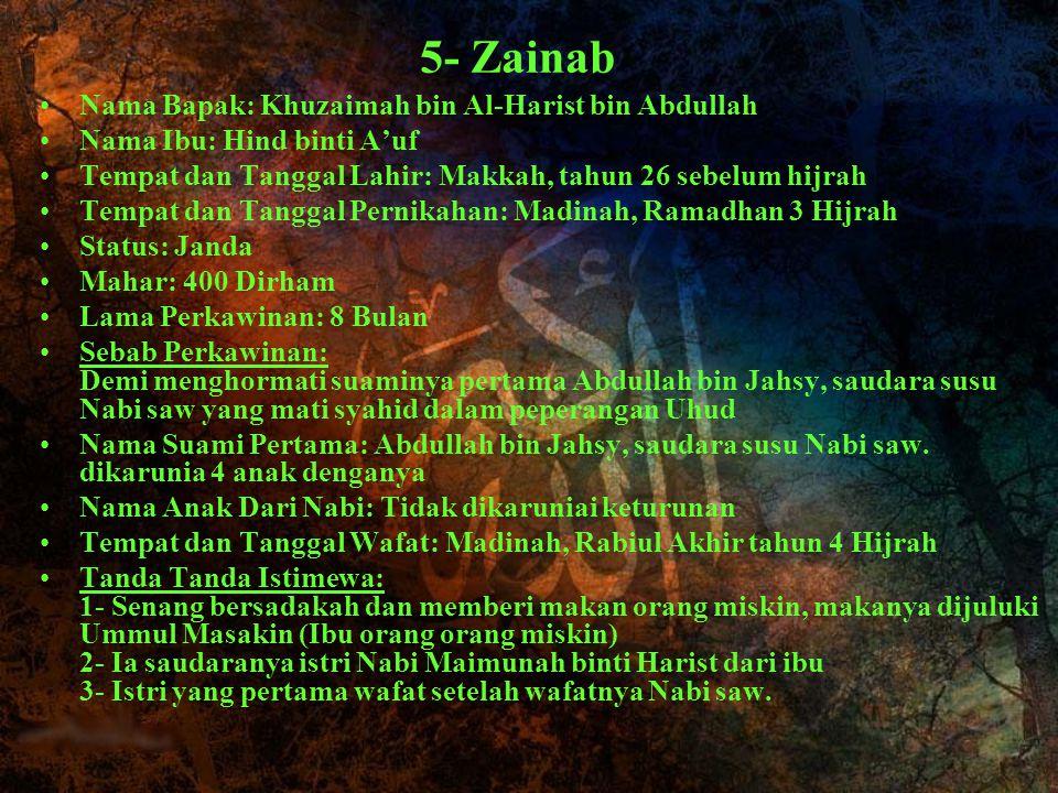 5- Zainab Nama Bapak: Khuzaimah bin Al-Harist bin Abdullah