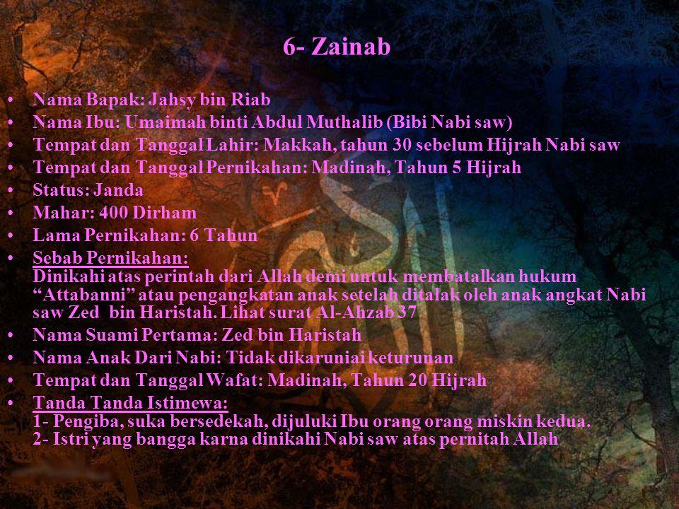 6- Zainab Nama Bapak: Jahsy bin Riab