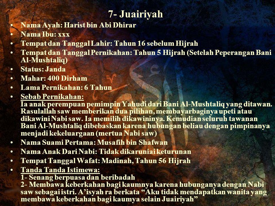 7- Juairiyah Nama Ayah: Harist bin Abi Dhirar Nama Ibu: xxx