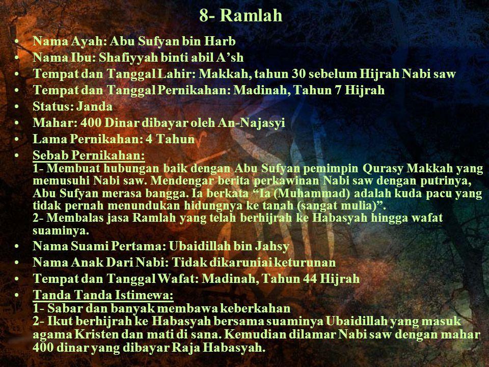 8- Ramlah Nama Ayah: Abu Sufyan bin Harb