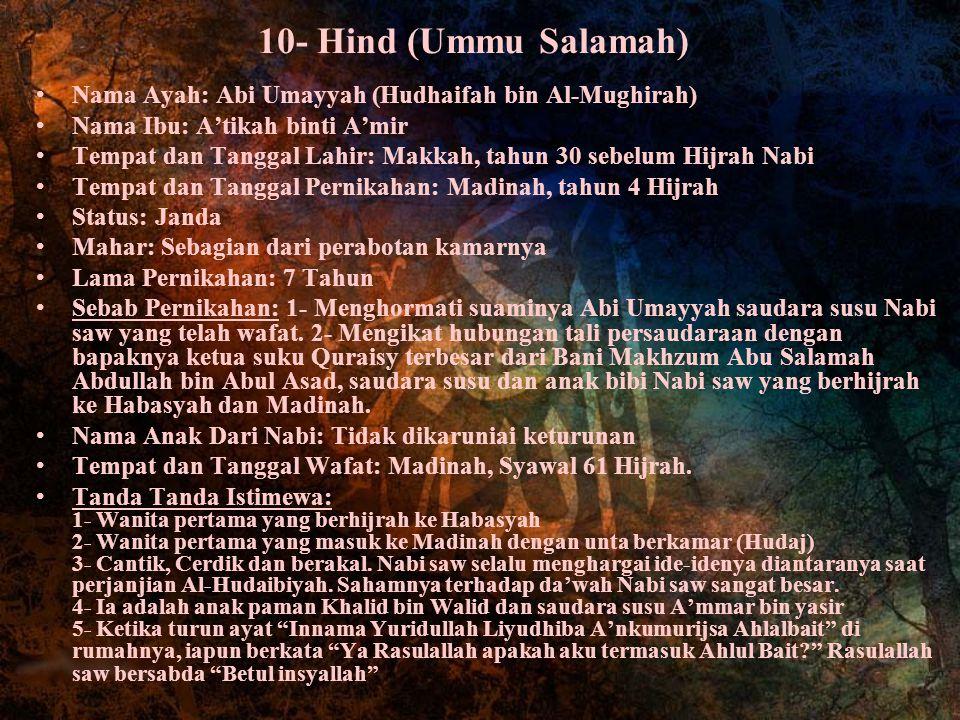 10- Hind (Ummu Salamah) Nama Ayah: Abi Umayyah (Hudhaifah bin Al-Mughirah) Nama Ibu: A'tikah binti A'mir.