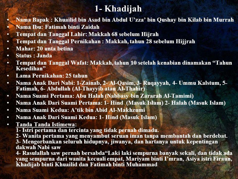 1- Khadijah Nama Bapak : Khuailid bin Asad bin Abdul U'zza' bin Qushay bin Kilab bin Murrah. Nama Ibu: Fatimah binti Zaidah.